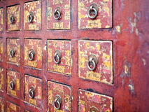 Red chinese wooden drawer Royalty Free Stock Image