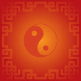 Red Chinese yin yang background. Red traditional Chinese yin yang symbol background with knot frame Stock Images