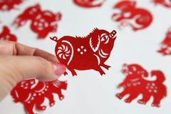 Red Chinese zodiac papercutting, Year of pig stock photo
