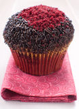 Red and chocolate decorated muffin Stock Images