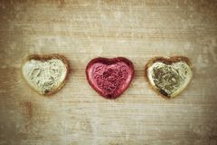 Red chocolate hearts Royalty Free Stock Photography