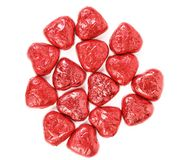 Red chocolate hearts candies on white Stock Image