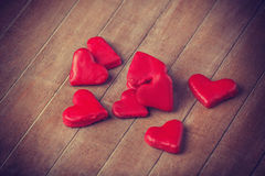 Red chocolate hearts Stock Image