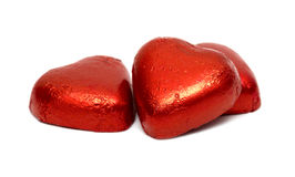 Red chocolate hearts Stock Photography