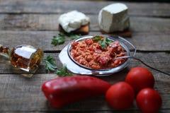 Red chopped paprika Stock Photos