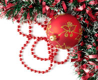 Red chrismas decoration. White isolated Royalty Free Stock Photo