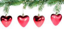 Red Chrismas Hearts Royalty Free Stock Photography