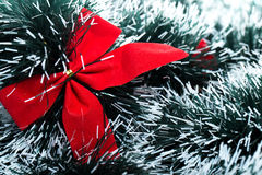 Red christhmas bow. Close up of red christhmas bow Royalty Free Stock Photography