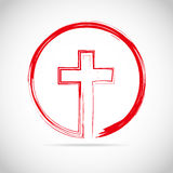 Red christian cross icon. Vector illustration. Royalty Free Stock Image