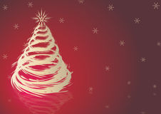 Red christmas. Theme. red background with christmas tree and stars Stock Image