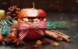 Red Christmas Apple with Elements Inside. Elements Inside Red Christmas Apple Tied with Red and White Ribbon royalty free stock images