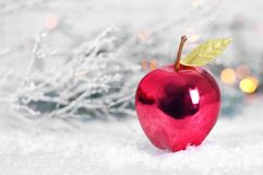 Christmas apple ornament. Christmas card. Red Christmas apple ornament. Christmas card royalty free stock photography