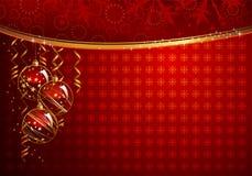 Red Christmas backdrop. Shiny  Christmas backdrop with three  balls Royalty Free Stock Image
