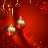 Red Christmas backdrop. Shiny  Christmas backdrop with two evening balls Stock Photo