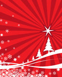 Red Christmas Background. With a celebration card Royalty Free Stock Photo