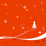 Red Christmas Background. With a celebration card Royalty Free Stock Photography