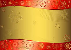 Red christmas background. With golden snowflakes Stock Images