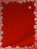 Red christmas background. With Christmas-tree decorations, stars and snowflakes stock illustration
