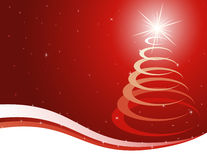 Red christmas background. With a stylised fur-tree Stock Photo