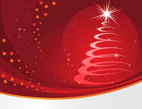 Red christmas background. With a stylised fur-tree stock illustration