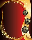 Red Christmas background. Illustration with three balls Stock Photography