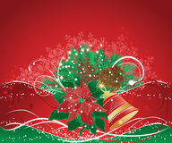 Red christmas background. With pine branches and bell vector illustration