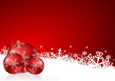 Red christmas background. With snowflakes and christmas balls Royalty Free Stock Images
