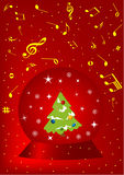 Red Christmas background. With ball and snowflake Royalty Free Stock Image