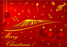 Red Christmas background. With balls and music notes Stock Photography
