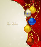 Red Christmas background. With colored evening balls Stock Images