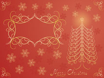 Red Christmas background. Red Merry Christmas postcard vector illustration Stock Photography