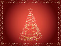 Red Christmas background. Red holiday background with Christmas tree vector illustration Royalty Free Stock Image