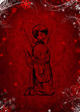 Red christmas background. With angels royalty free illustration