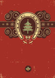 Red Christmas background. With horseshoe Royalty Free Stock Images