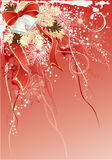 Red christmas background. With bells and pine branches Stock Image