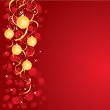 Red Christmas background. A red illustrated background with a shiny golden and red ornamental Christmas baubles & ribbons Royalty Free Stock Photo