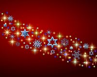 Red Christmas Background. An illustrated Christmas background with an abstract pattern of shining stars and snowflakes Stock Photography
