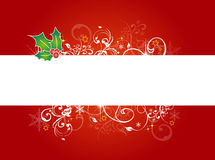 Red Christmas Background. An illustrated floral design on red background for Christmas, with a blank stripe in between for text Stock Photo
