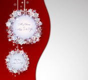 Red Christmas background with abstract decorations Stock Photography
