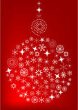 Red Christmas background with ball. And snowflake Stock Photography