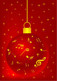 Red Christmas background with ball. Snowflake and music notes vector illustration