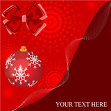 Red christmas background with ball and bow Royalty Free Stock Image