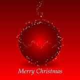 Red christmas background with ball and stars Stock Photo