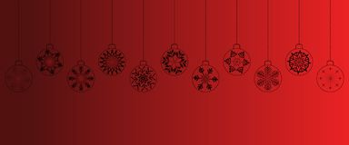 Red christmas background with balls stock photos