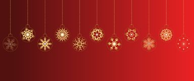 Red christmas background with balls stock image
