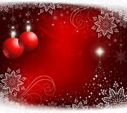 Red christmas background with red balls Stock Photo