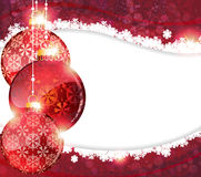 Red Christmas background with baubles Stock Photo