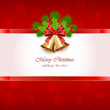 Red Christmas background with bells Stock Images