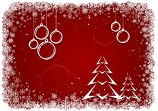 Red Christmas background with bolls and tree Royalty Free Stock Photos