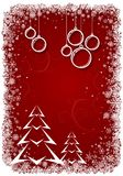 Red Christmas background with bolls and tree Royalty Free Stock Photo